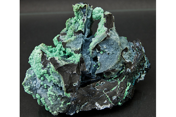 Malachite on Quartz Druse - Schwartz Fine Minerals