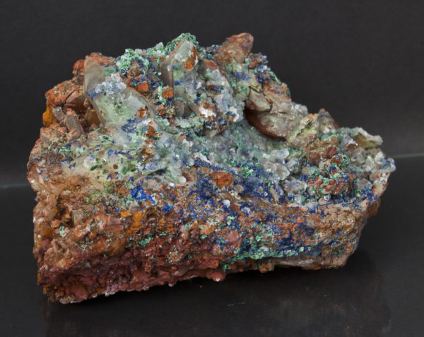 Quartz, Azurite, Malachite, and Calcite-https://schwartzfineminerals.com
